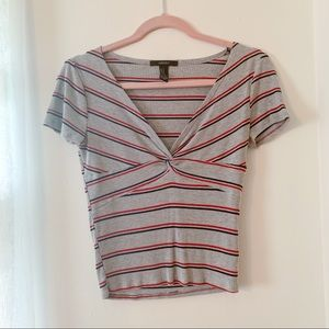 Striped Knot Front Crop Top